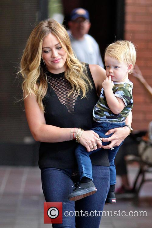 Hilary Duff and son Luca Comrie are seen...