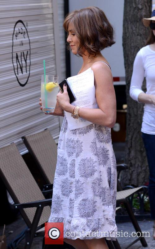 Actresses outside their trailers on the set of the film 'Squirrels to the Nuts'