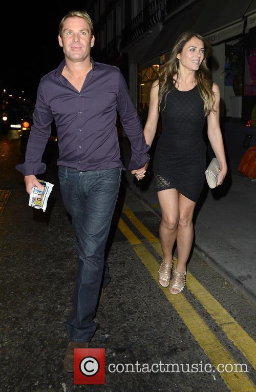 Elizabeth Hurley and Shane Warne leave San Lorenzo...