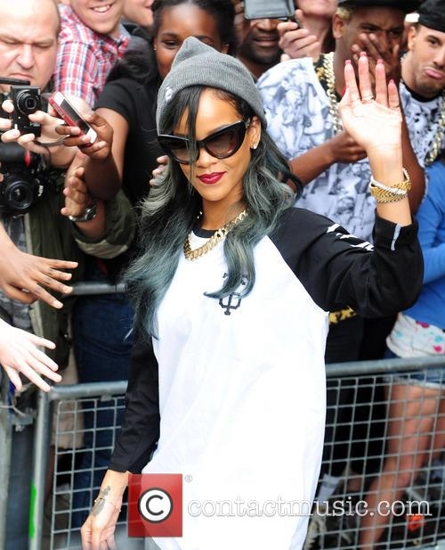 Rihanna is seen departing her London hotel and...