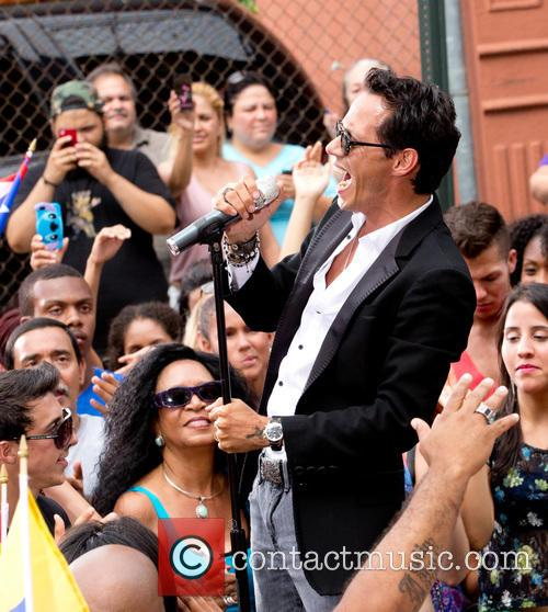 Marc Anthony films a music video