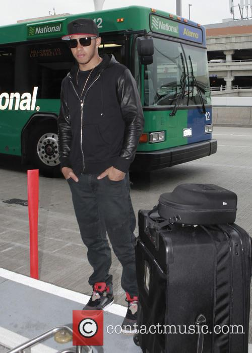 Lewis Hamilton arrives at LAX airport