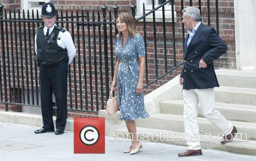 Carole and Michael Middleton leave St Mary's Hospital...