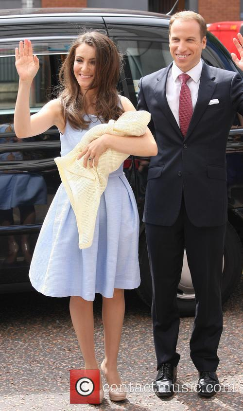 Kate Middleton and Prince William's look-alikes pose outside...
