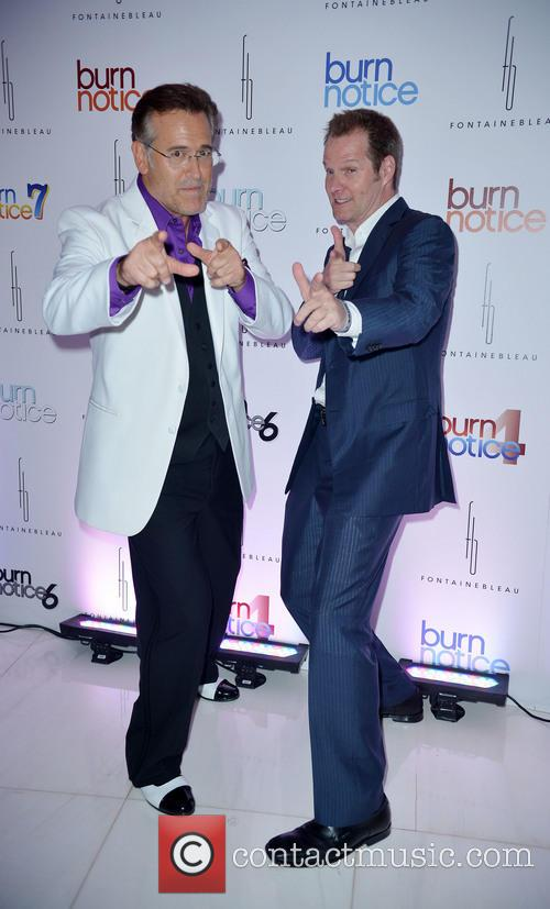 bruce campbell jack coleman burn notice wrap party 3785296