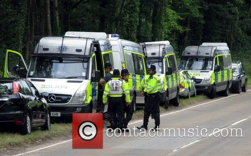 Anti-fracking protesters meet a heavy police presence at...