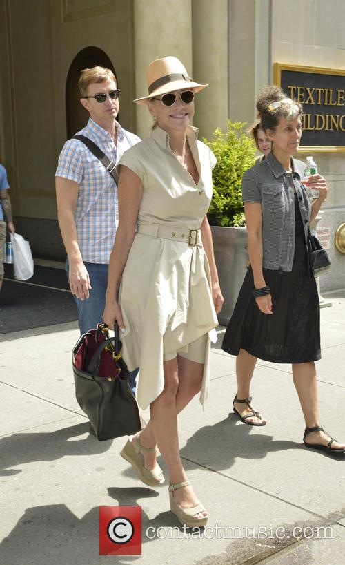 Sharon Stone departs an office building