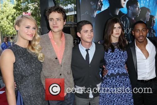 Leven Rambin, Douglas Smith, Logan Lerman, Alexandra Daddario and Brandon T. Jackson 2