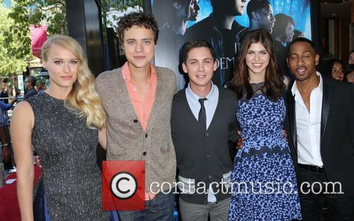 Leven Rambin, Douglas Smith, Logan Lerman, Alexandra Daddario and Brandon T. Jackson 6