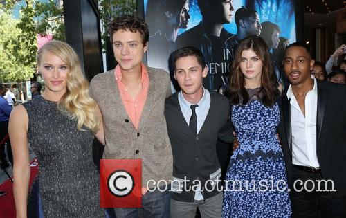 Leven Rambin, Douglas Smith, Logan Lerman, Alexandra Daddario and Brandon T. Jackson 11