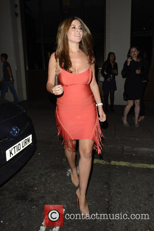 Imogen Thomas leaving Mayfair Bar