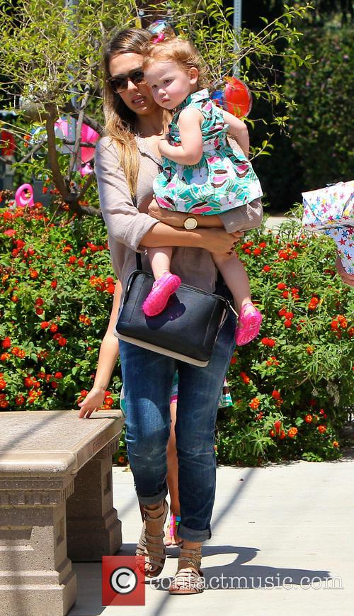 Jessica Alba and daughter at birthday party