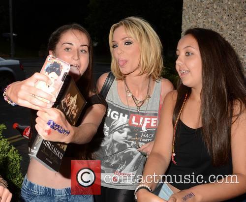Girls Aloud singer Sarah Harding arriving at RTE...