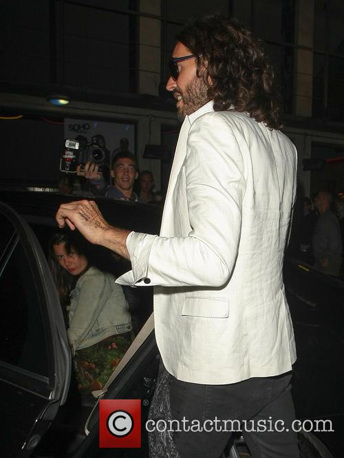 Russell Brand leaves the Soho Theatre