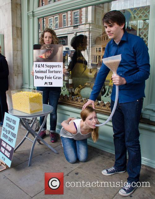 A PETA demonstration outside Fortnum & Mason