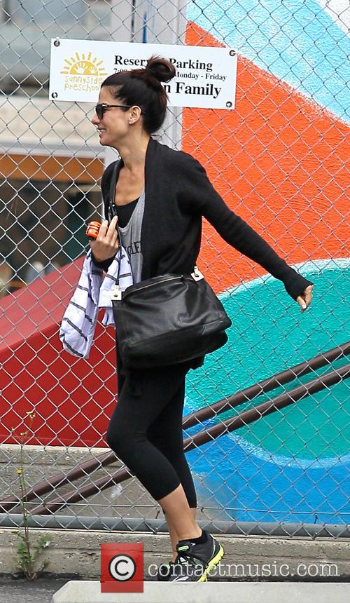 Sandra Bullock Takes Her Son To Class