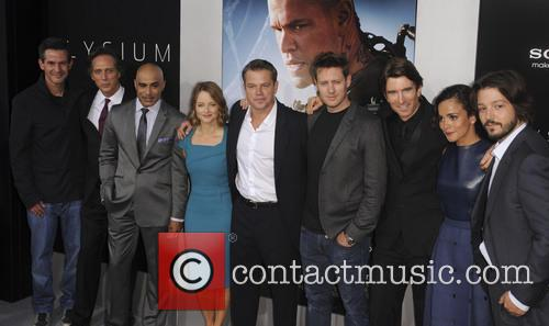 Simon Kinberg, Actors William Fichtner, Faran Tahir, Jodie Foster, Matt Damon, Director Neill Blomkamp, Actors Sharlto Copley, Alice Braga and Diego Luna 4