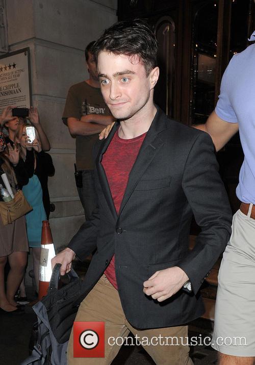 Daniel Radcliffe leaves the Noel Coward Theatre, having...