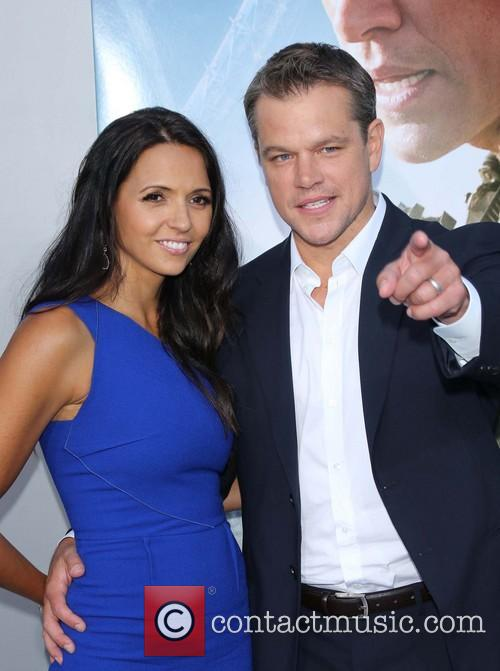 Matt Damon, Luciana Barroso, Regency Village Theatre