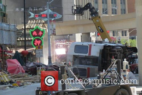 Pictures of the film set Transformers 4