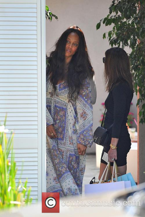 Tyra Banks leaving a private party