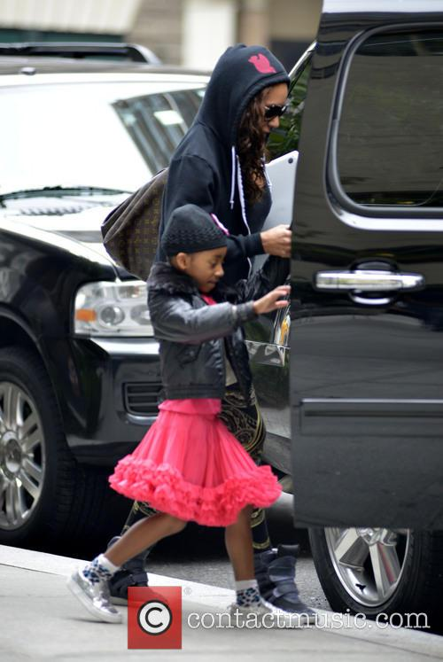 Mel B and daughter Angel seen leaving hotel