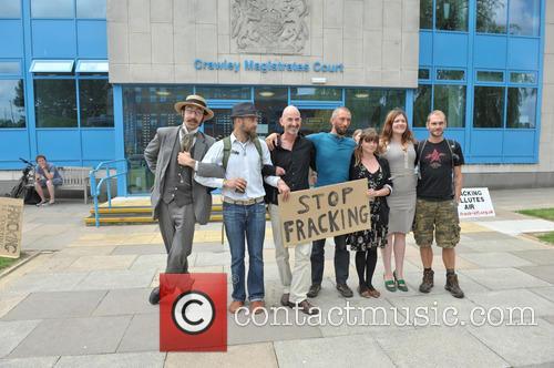 Arrested Protesters L/r Ezra Lynch, Marcin Swiercz, Mark Mansbridge, Justin Preece, Nancey Walker, Frances Crack and Richard Miller 2