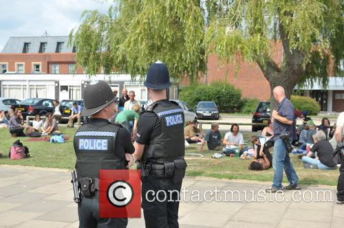 Arrested Protesters L/r Ezra Lynch, Marcin Swiercz, Mark Mansbridge, Justin Preece, Nancey Walker, Frances Crack and Richard Miller 10