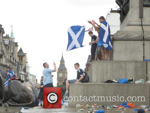 Scotland Fans Gather in Trafalgar Square