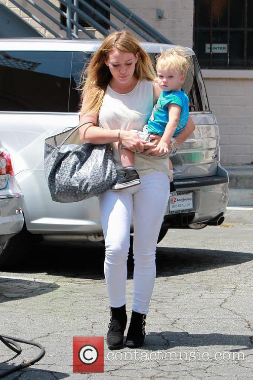Hillary Duff takes her son Luca to a...
