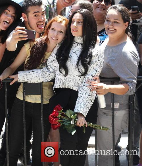 Lady Gaga met with fans outside the Chateau...