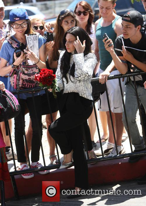 Lady Gaga met with fans outside the Chateau Marmont