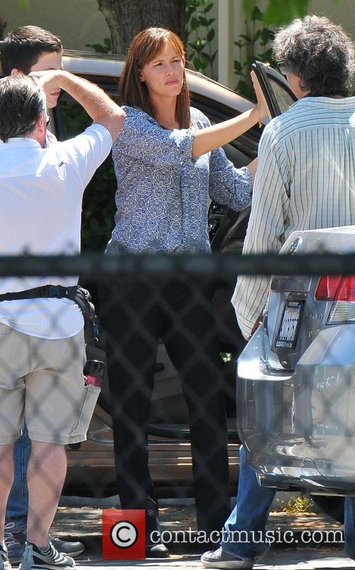 Jennifer Garner and Steve Carell  on the set of  'Alexander and the Terrible, Horrible, No Good, Very Bad Day'