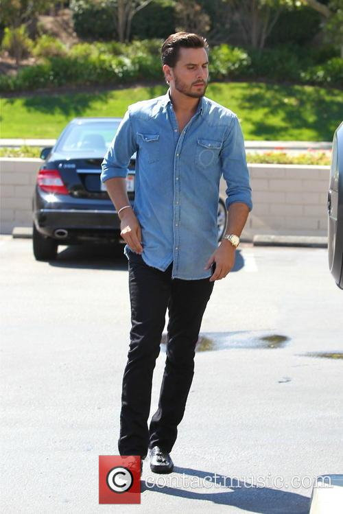 Scott Disick stops at a bank in Calabasas
