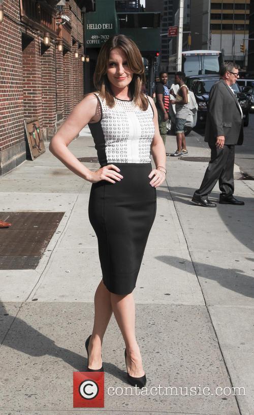 Tina Fey outside Letterman