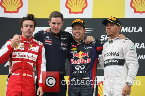 Fernando Alonso, Sebastian Vettel, Germany, Ferrari, Mercedesgp Team - Podium . and Lewis Hamilton 7