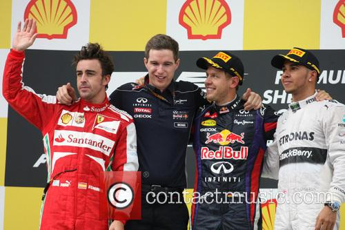 Fernando Alonso, Sebastian Vettel, Germany, Ferrari, Mercedesgp Team - Podium . and Lewis Hamilton 9
