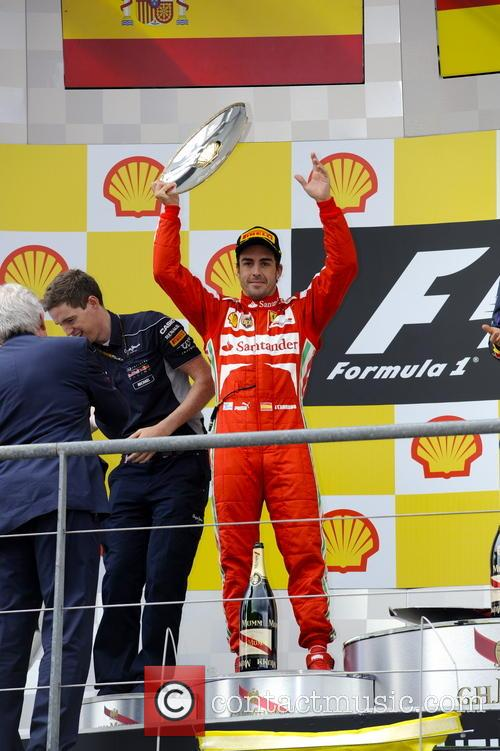 Fernando Alonso, Spain and Ferrari F138 - On The Podium With Trophy As Runner Up - 11