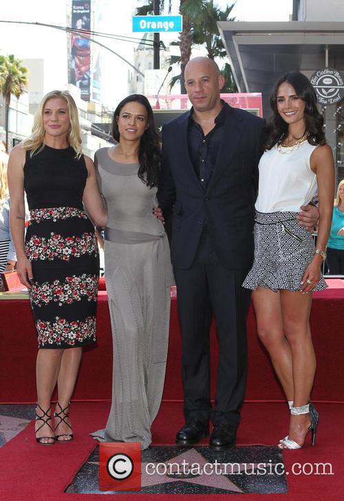 Katee Sackhoff, Michelle Rodriguez, Vin Diesel and Jordana Brewster 2
