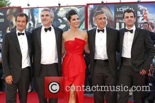 David Heyman, Alfonso Cuaron, Sandra Bullock, George Clooney and Jonas Cuaron 2