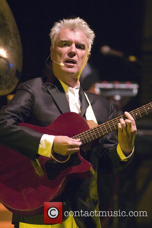 David Byrne performing alongside St. Vincent