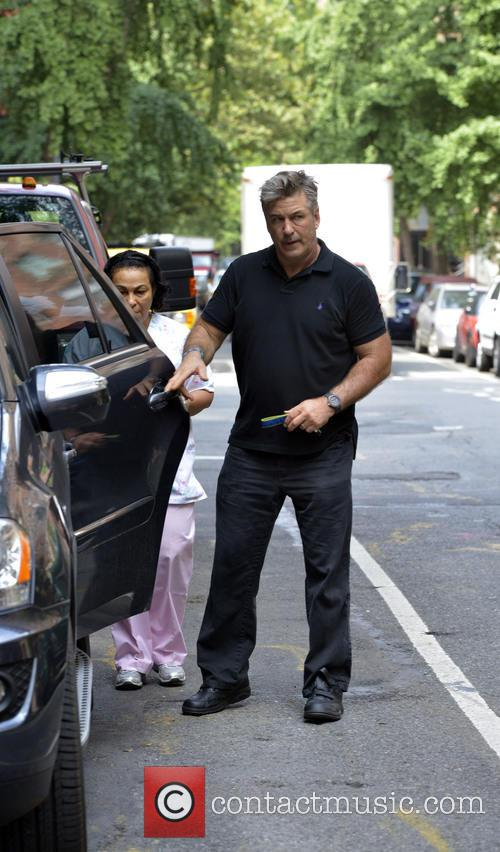 Alec Baldwin and wife Hilaria seen leaving New...