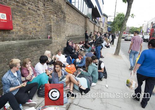 Lady Gaga fans queue outside the Roundhouse