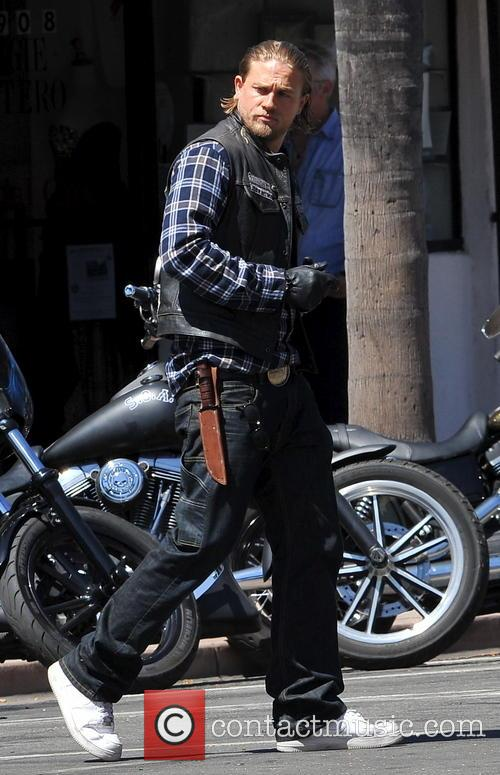 Charlie Hunnam on set filming 'Sons of Anarchy'