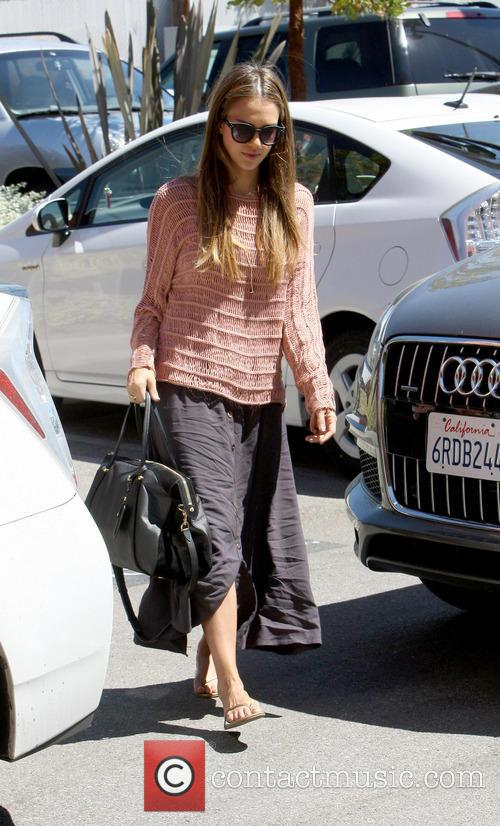 Jessica Alba arrives at an office in Brentwood