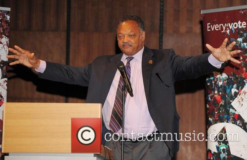 Reverend Jesse Jackson gives a speech at the...