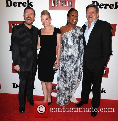 Ricky Gervais, Jane Fallon, Nicole Avant and Ted Sarandos 8