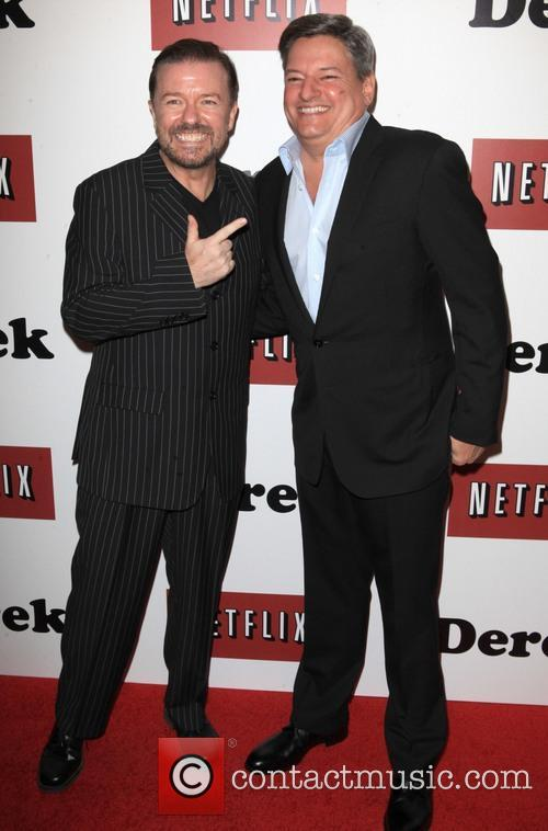 Ricky Gervais and Ted Sarandos 5
