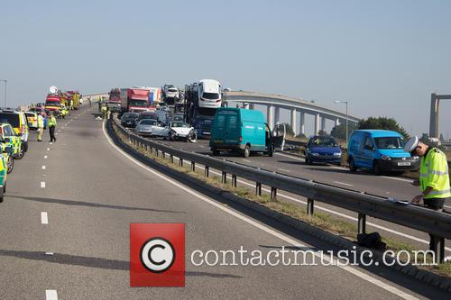 130 vehicle accident on the A249 Sheppey crossing...