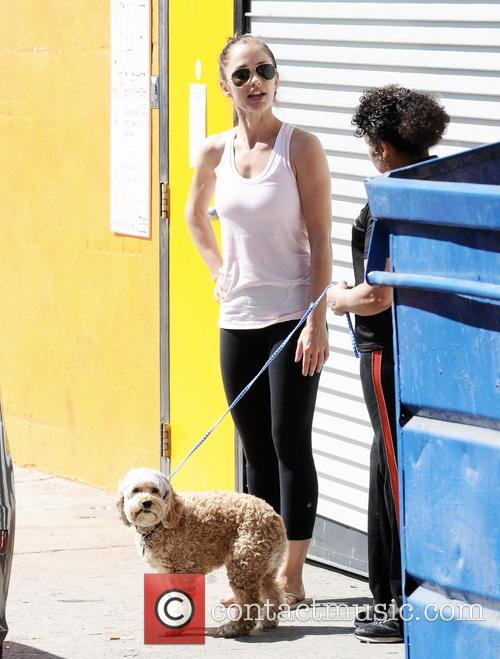Minka Kelly at the doggie daycare
